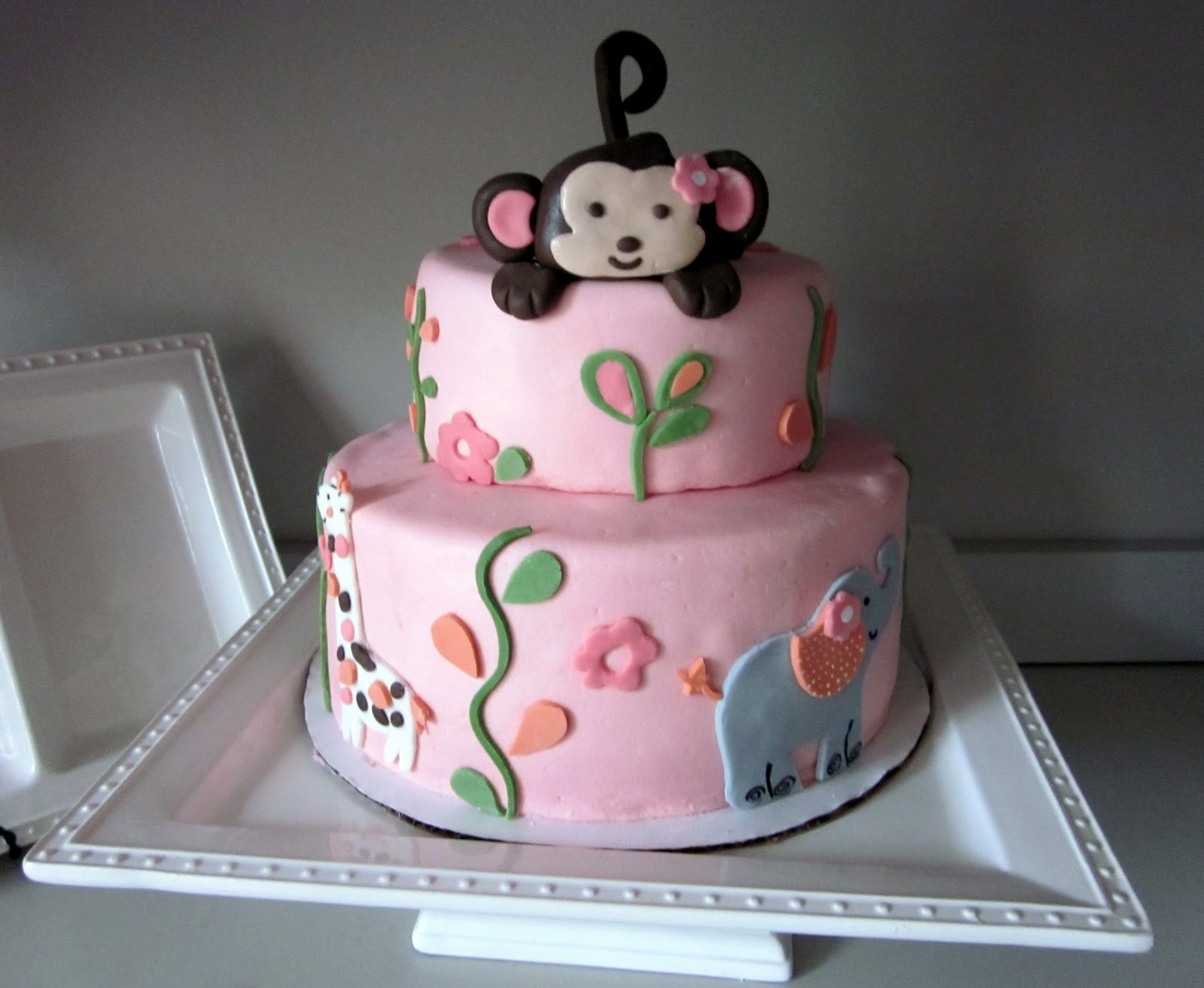 Monkey cakes decoration ideas little birthday cakes for Baby shower cake decoration idea
