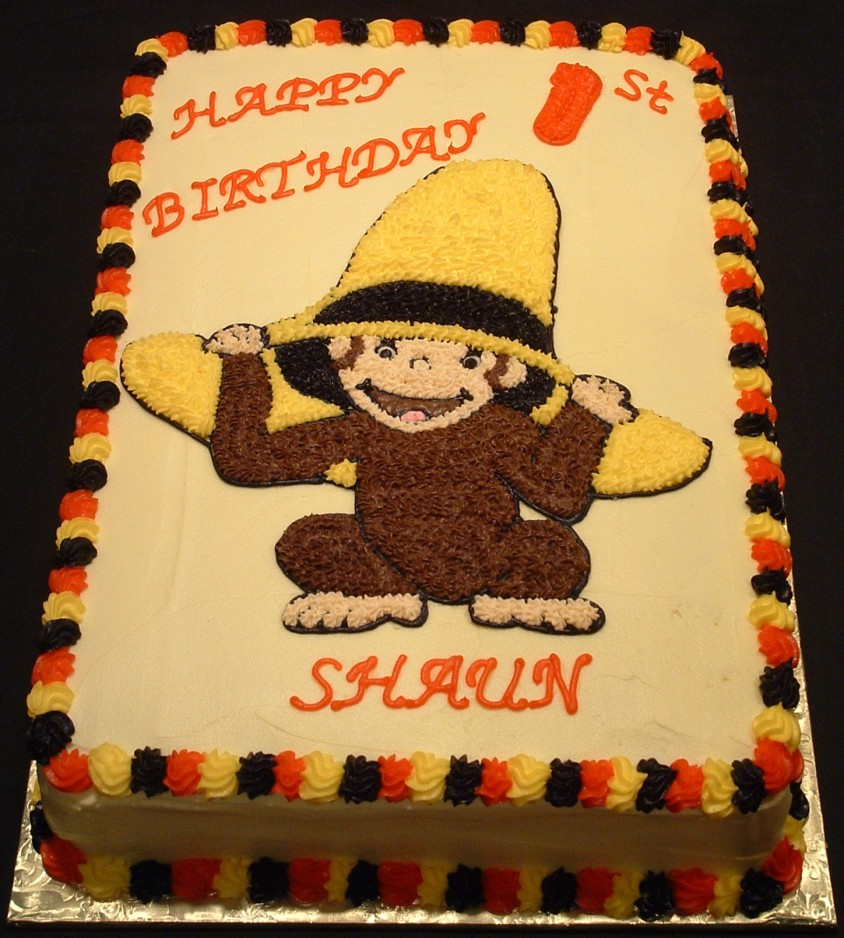 Curious George Edible Cake Image Topper Decoration