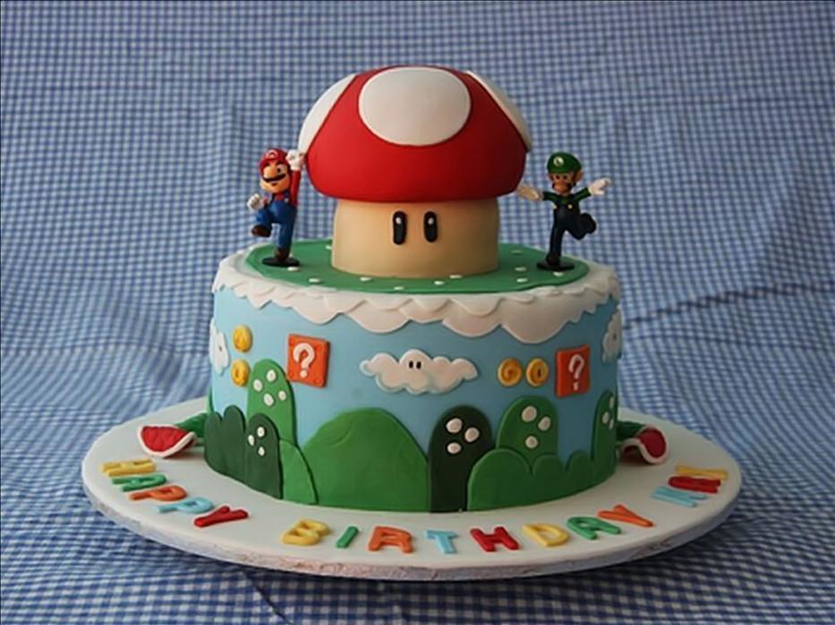 Mario and Luigi Birthday Cake