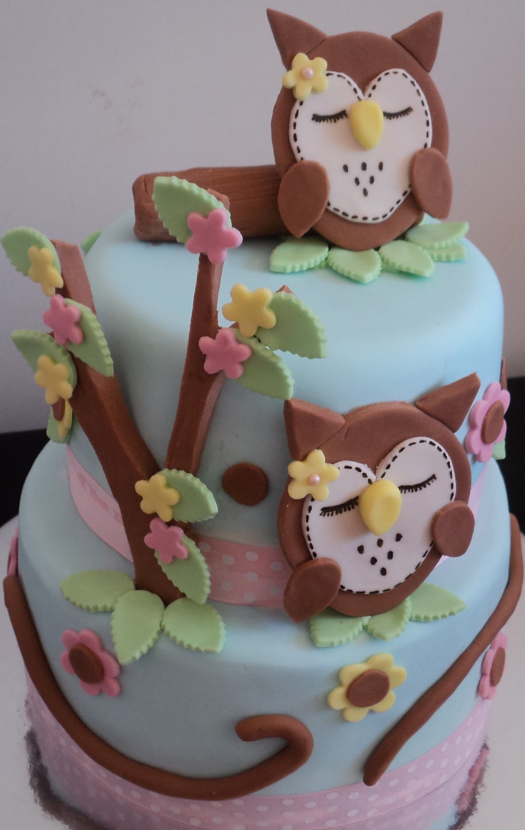 Owl cakes decoration ideas little birthday cakes for Baby shower cake decoration idea