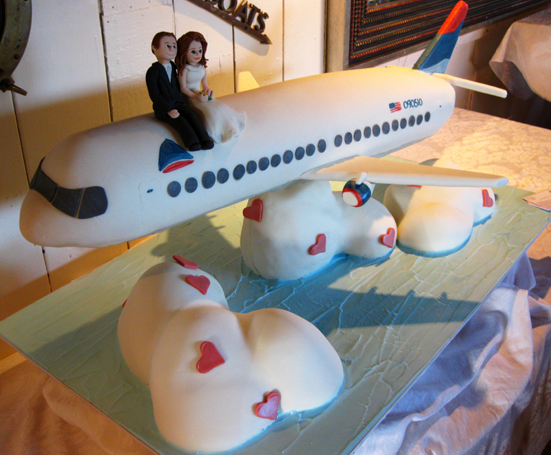 Airplane Themed Wedding Cake