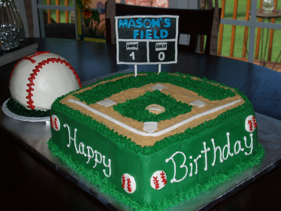 baseball field birthday cakes