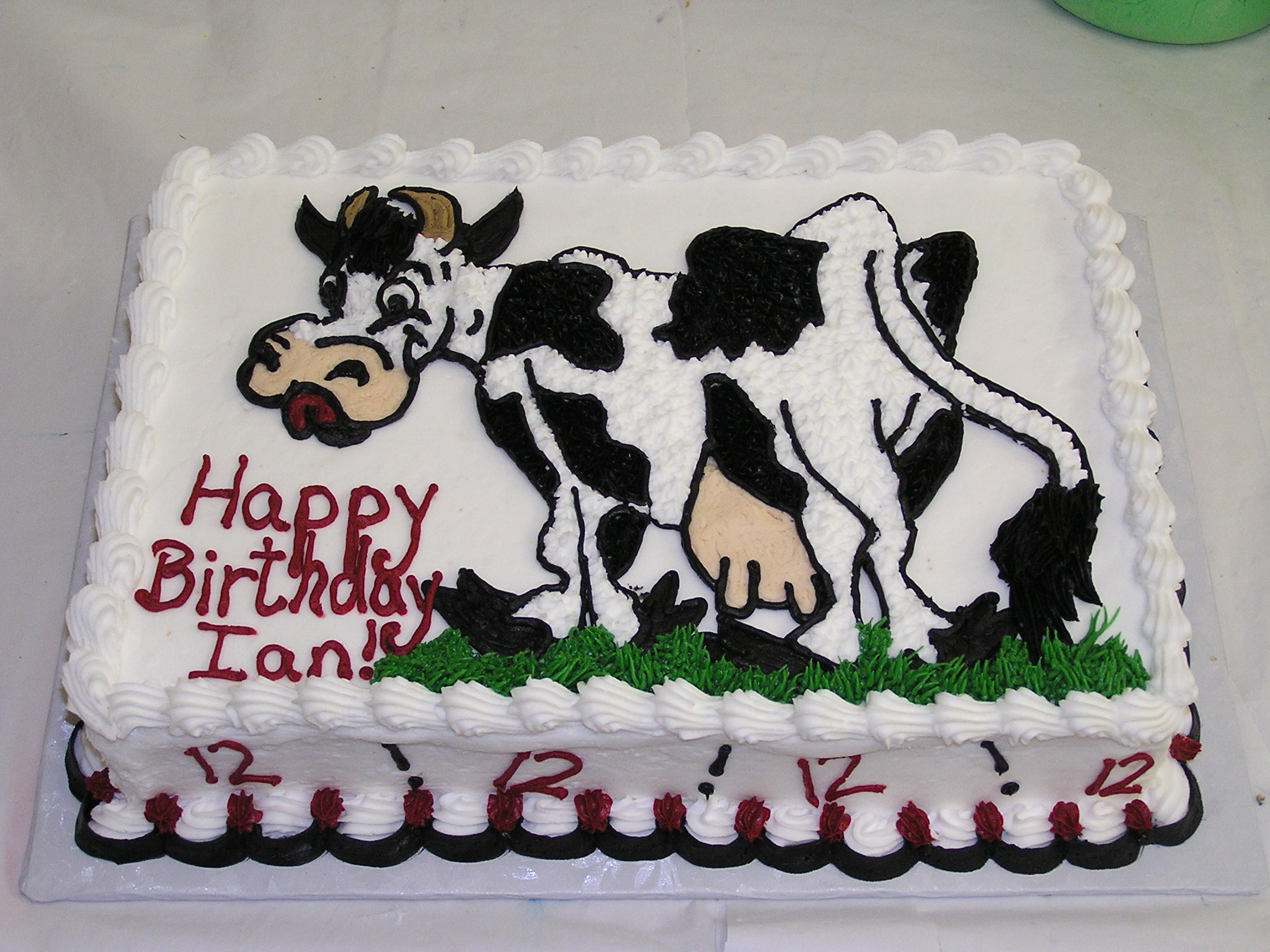 Black And White Cow Birthday Sheet Cake Pictures to Pin on ...