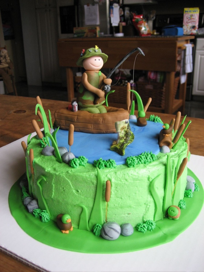 Fishing cakes decoration ideas little birthday cakes for Gone fishing cake