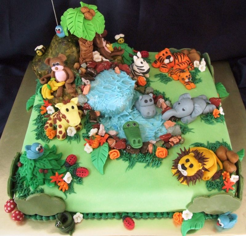 High Quality Jungle Theme Baby Shower Cakes