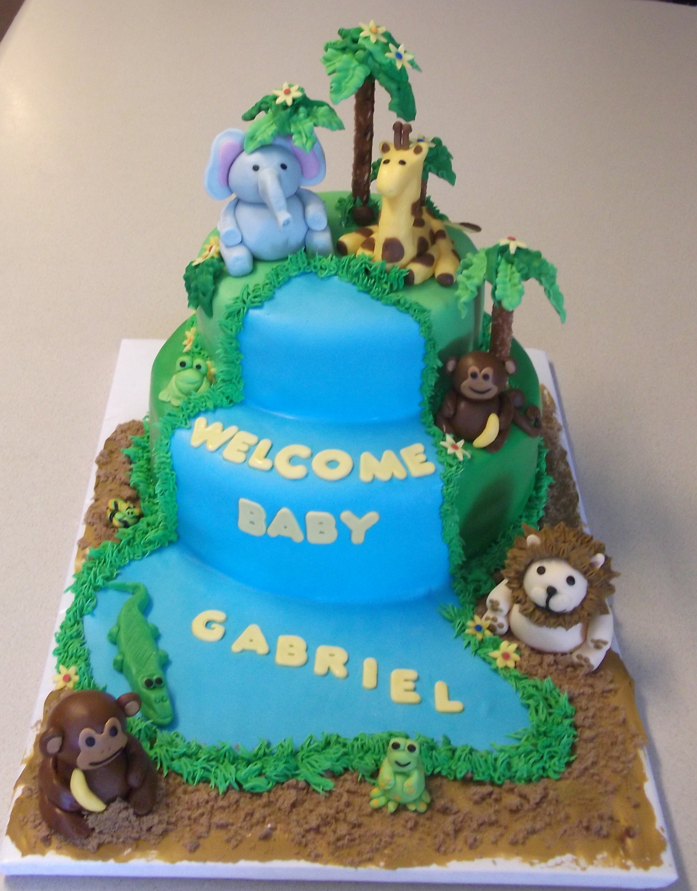 baby shower safari theme cake baby shower safari cake with baby bottom