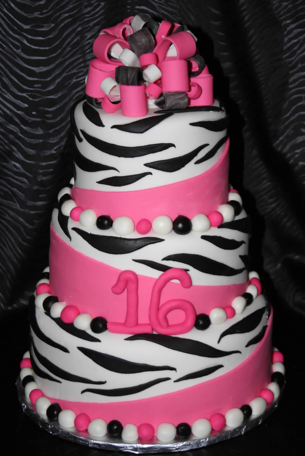 hot pink zebra birthday cake