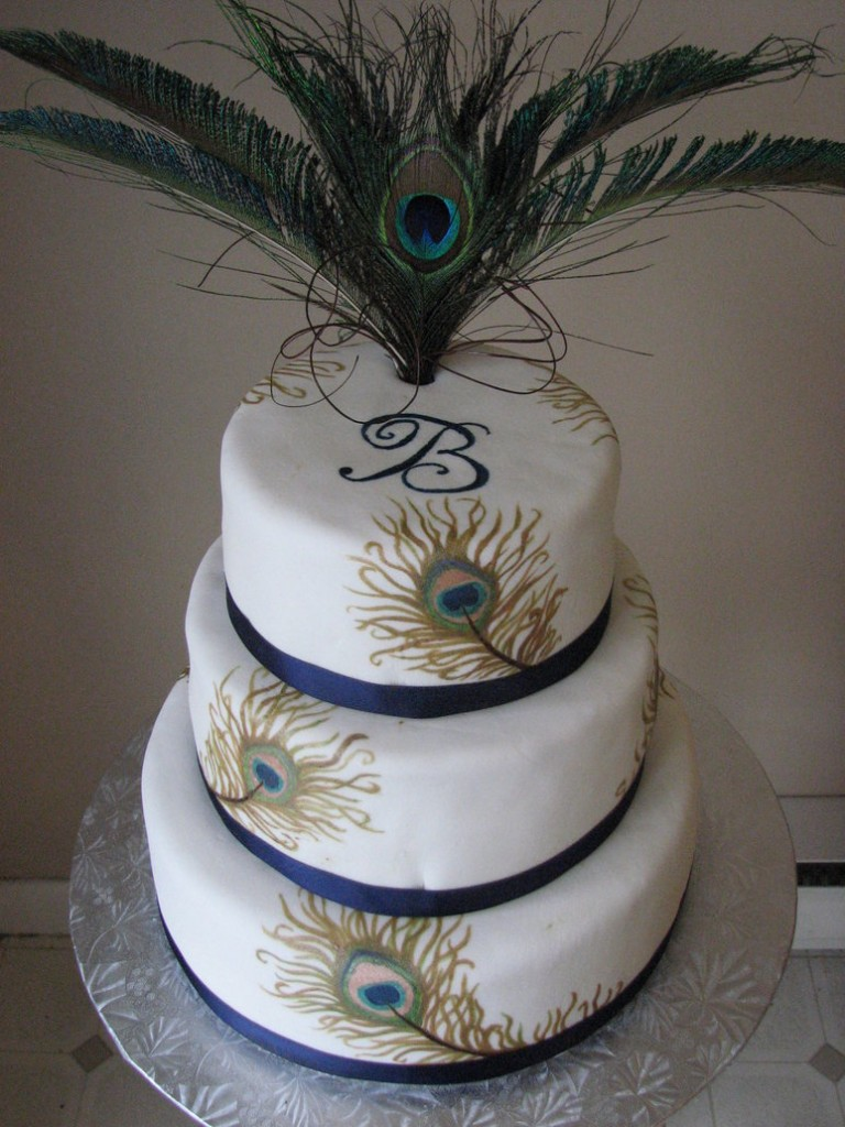 Birthday Cakes With Peacock Feathers