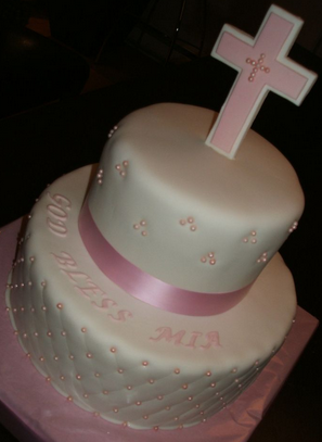 baptism cakes cross