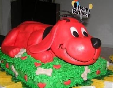 big red dog cake