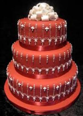 big red wedding cake