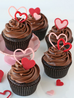 chocolate heart cup cakes