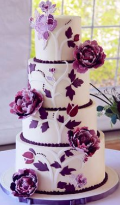 flower purple wedding cakes