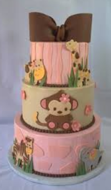 monkey tower cakes girls baby shower