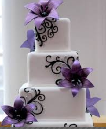 wedding cakes purple flower