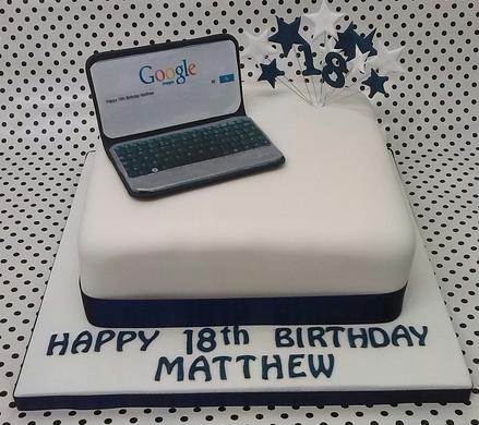 white laptop cake
