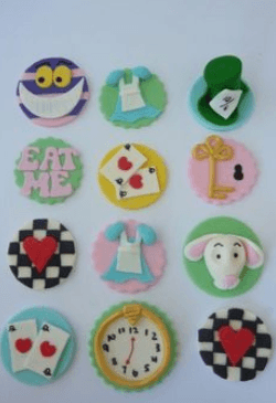 Alice in wonderland cupcake decorations