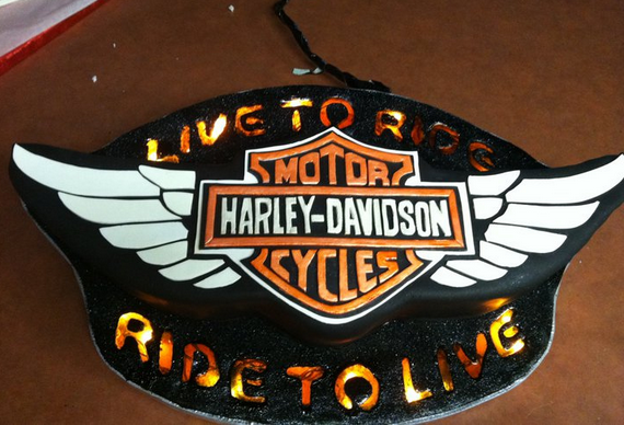 Black Harley Davidson cake decorations