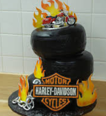 Harley Davidson flaming cake decorations