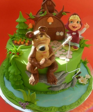 masha and the bear fishing cake