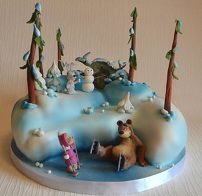 masha and the bear forest cake