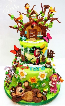 masha and the bear house cake