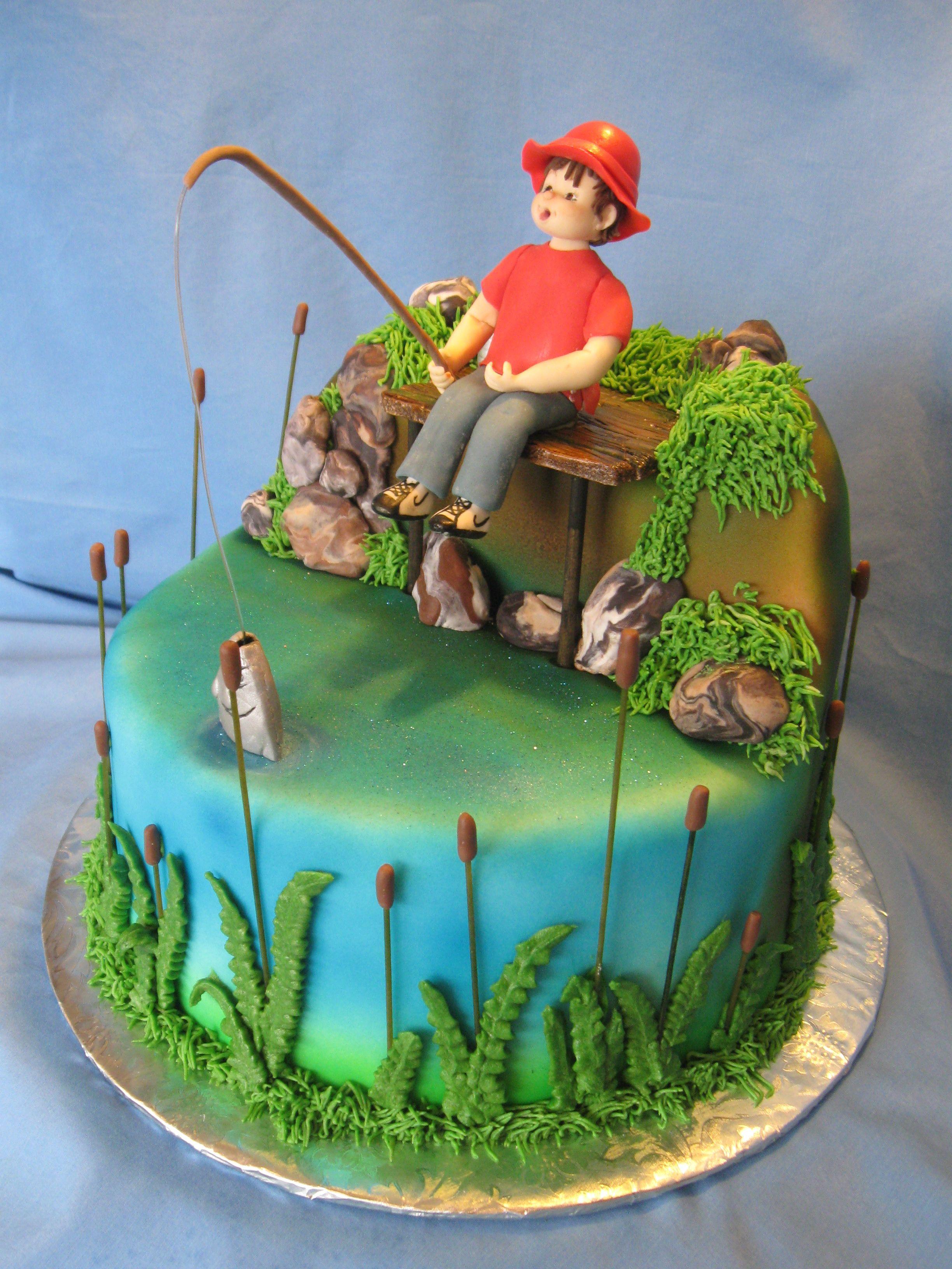 fishing cake  cupcake toppers  birthday cakes