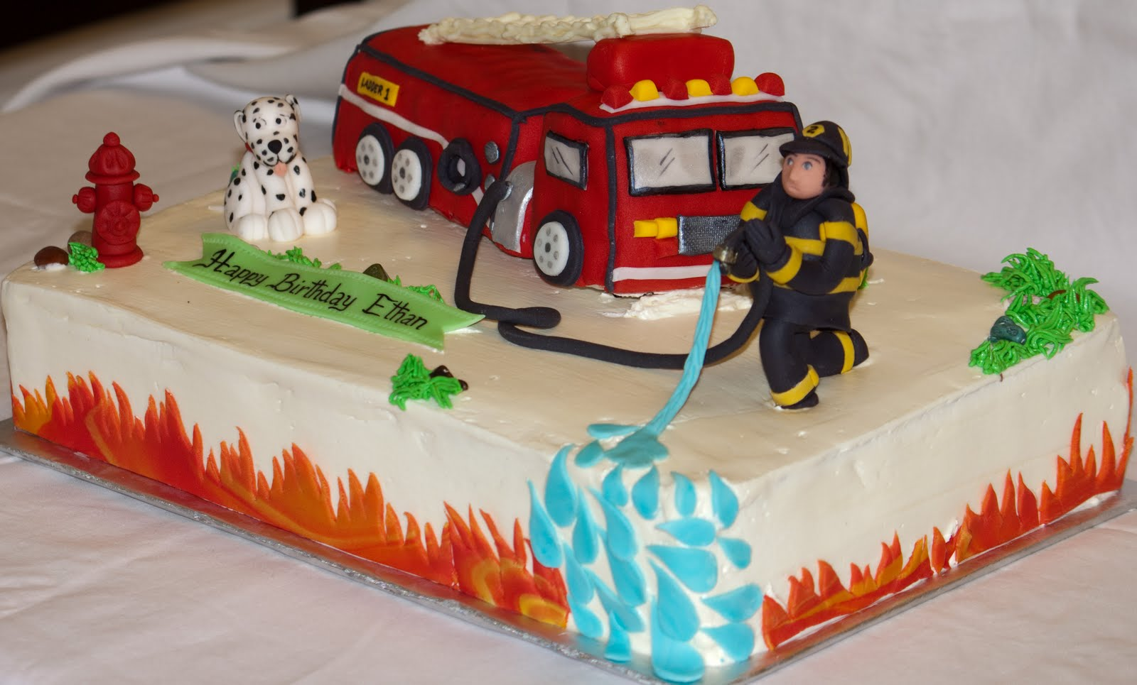 Tremendous Fire Truck Cakes Decoration Ideas Little Birthday Cakes Personalised Birthday Cards Arneslily Jamesorg