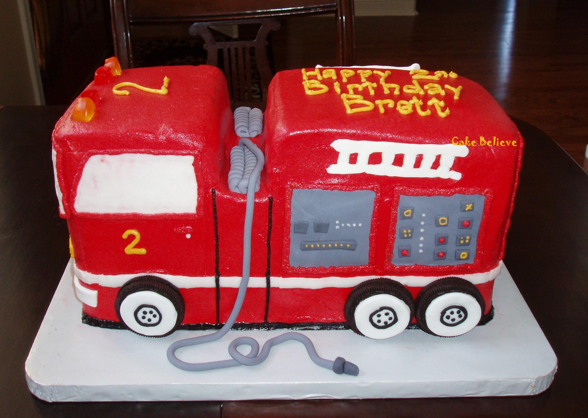 Peachy Fire Truck Cakes Decoration Ideas Little Birthday Cakes Funny Birthday Cards Online Overcheapnameinfo