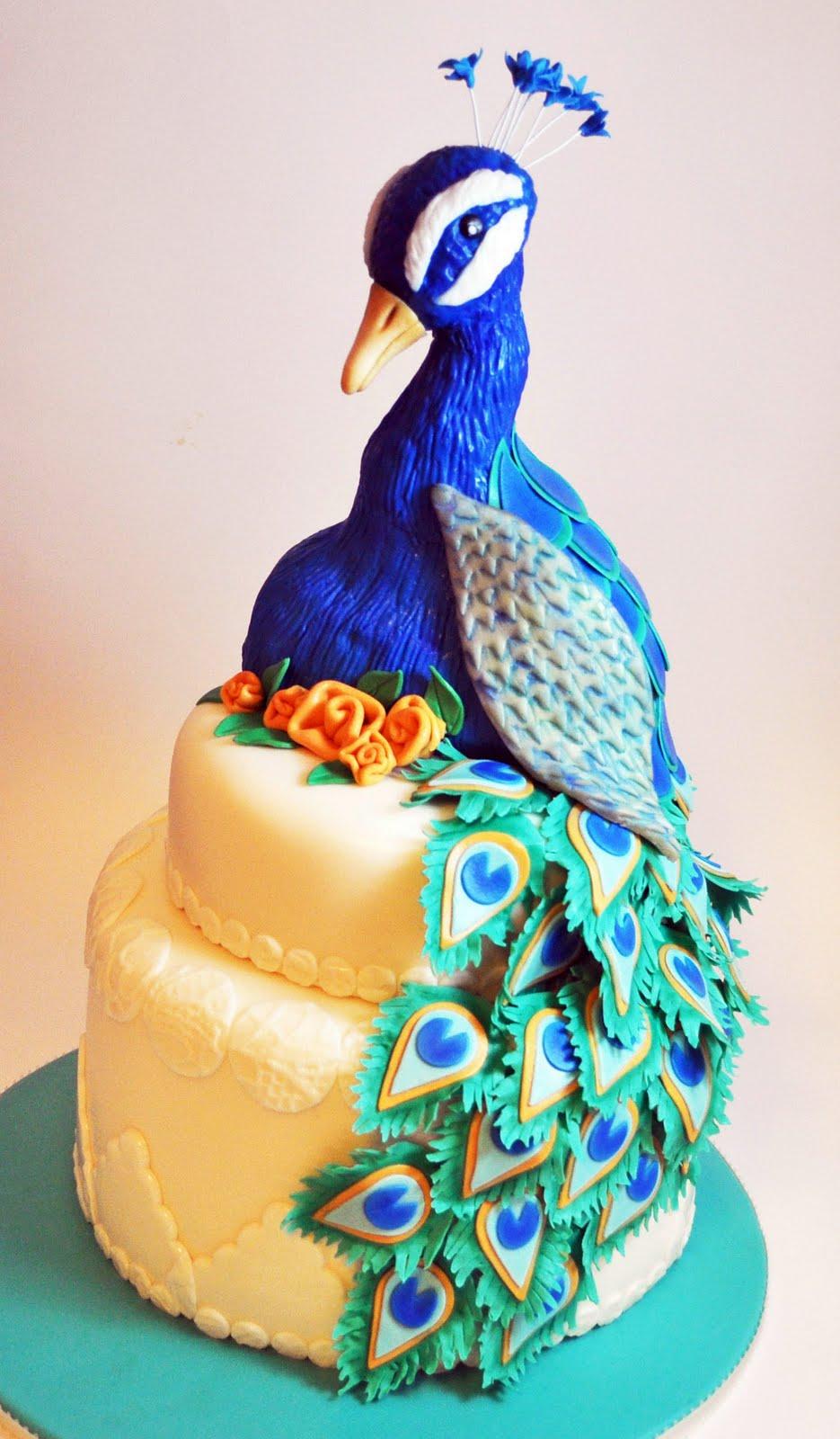 Terrific Peacock Cakes Decoration Ideas Little Birthday Cakes Personalised Birthday Cards Veneteletsinfo