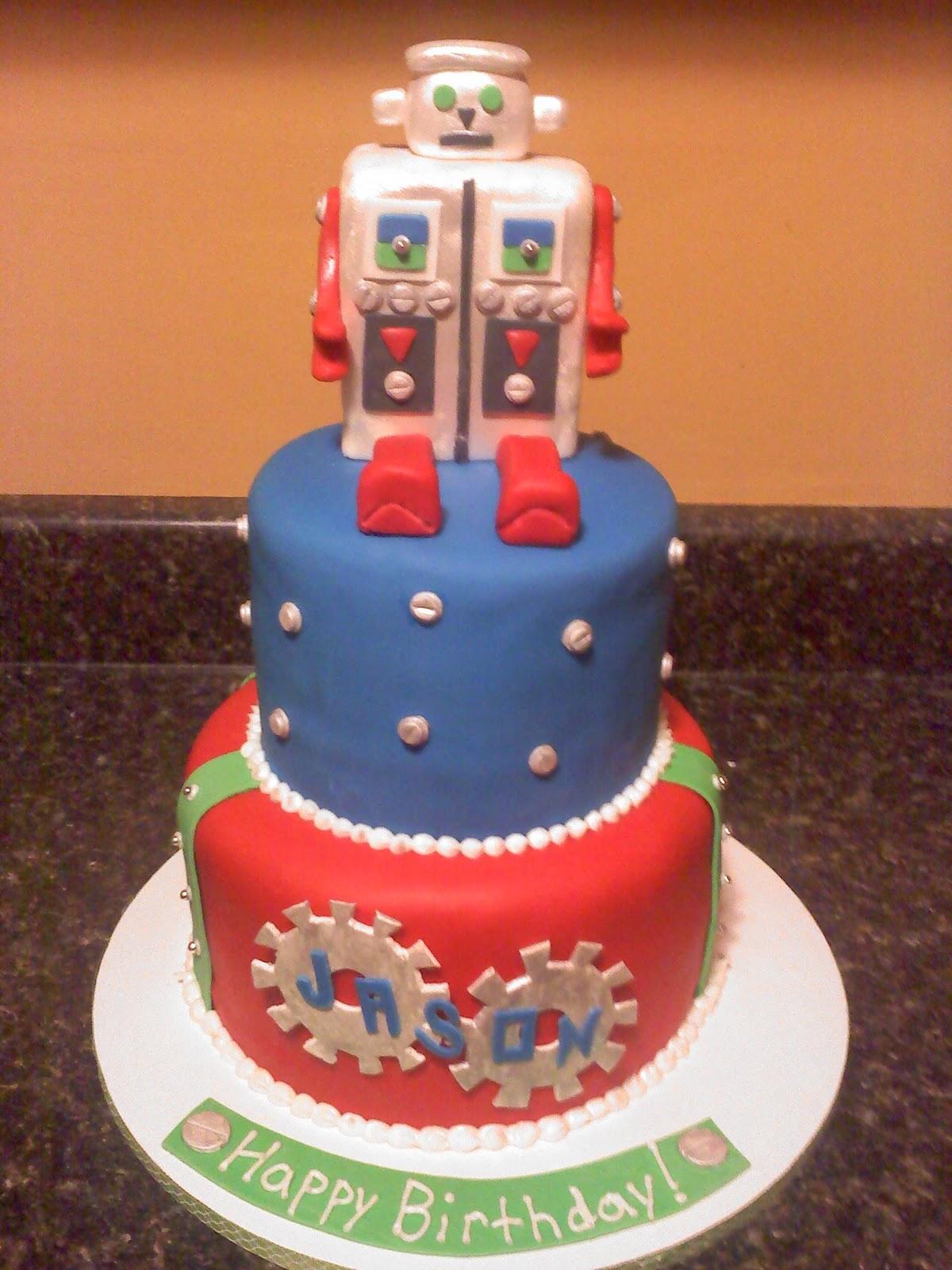 Cool Robot Cake Decoration Ideas Little Birthday Cakes Personalised Birthday Cards Epsylily Jamesorg