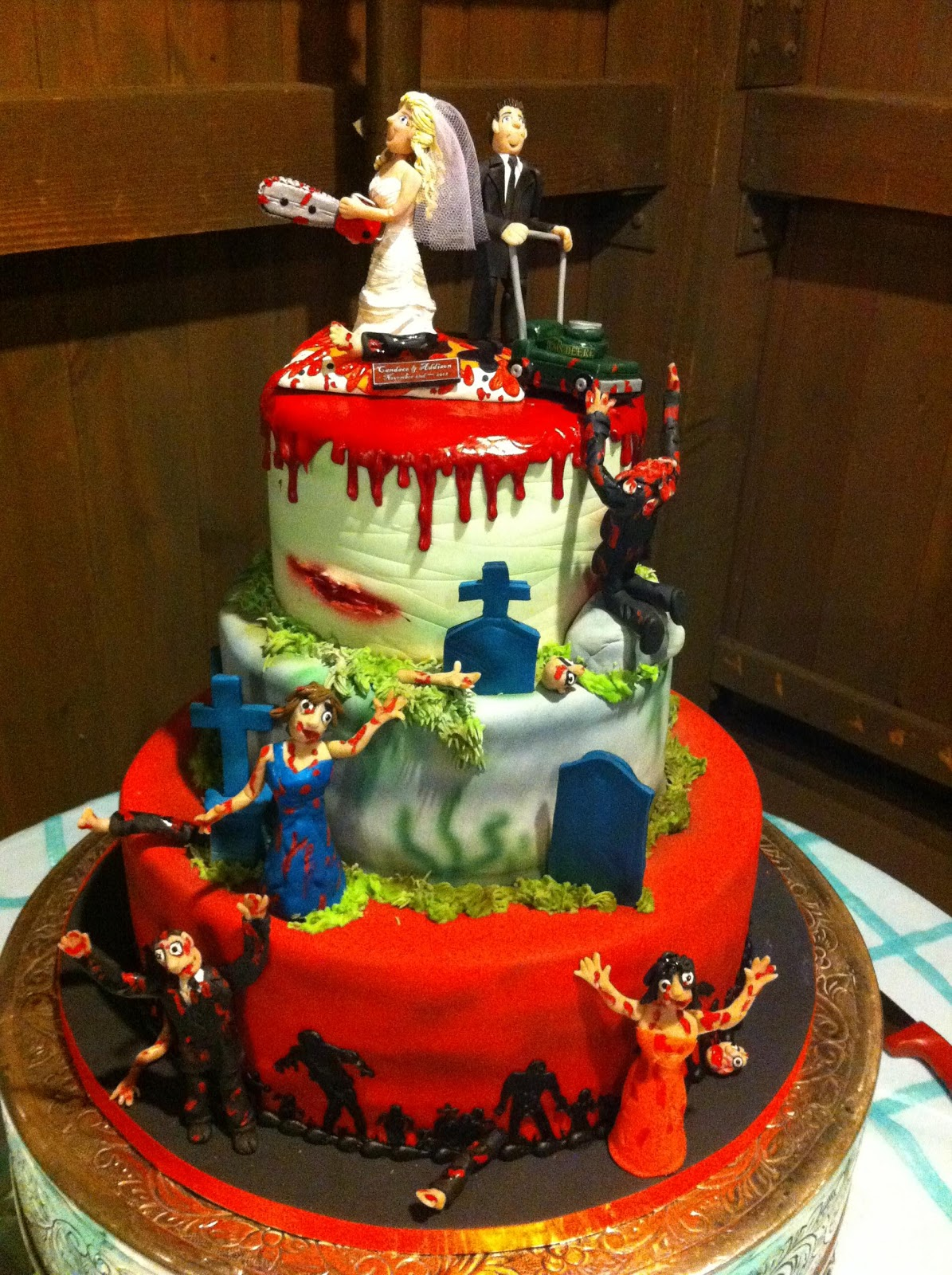 Amazing Zombie Wedding Cakes Decoration Ideas Little Birthday Cakes Personalised Birthday Cards Veneteletsinfo