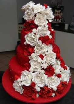 big red and white cake idea