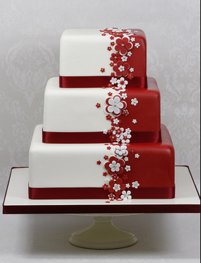 big red and white cake