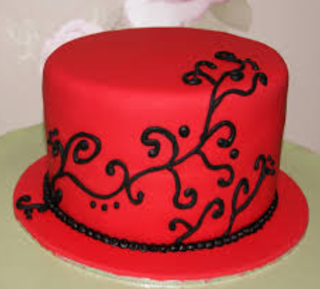 big red swirl cake