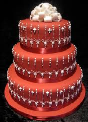 big red wedding cake