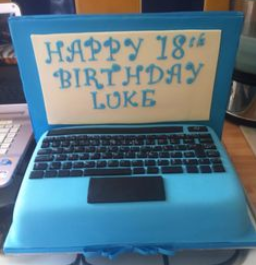 blue laptop cake design