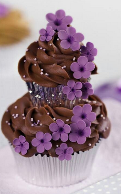 flower chocolate double cup cakes