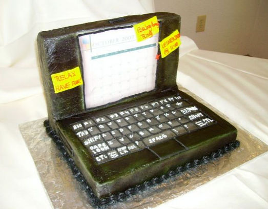 green laptop cakes