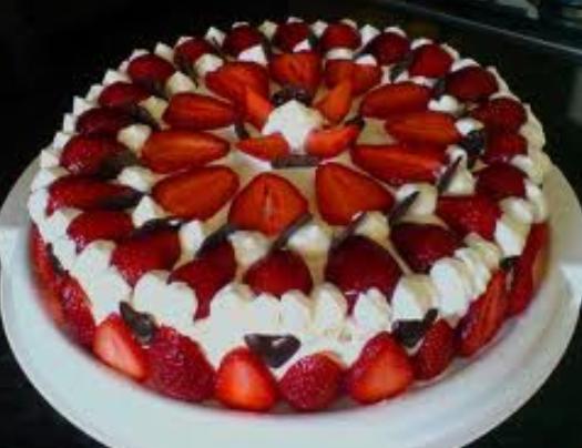 large strawberry cake
