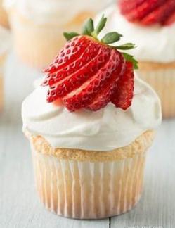 slice strawberry cupcake