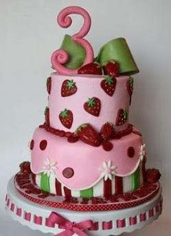strawberry 3rd birthday cake