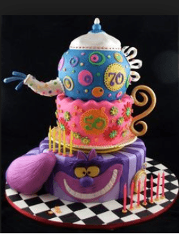 Alice in wonderland cake teapot decorations