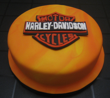 Gold Harley Davidson cake decorations