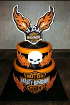flaming wings Harley Davidson cake decorations