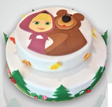 masha and the bear snow cake
